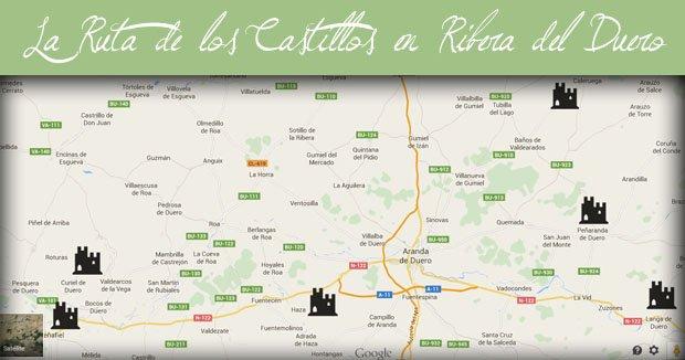 Mapa de los Castillos de la Ribera del Duero